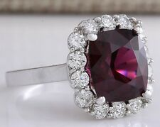 STATE 6.17CT NATURAL RED HESSONITE GARNET AND DIAMOND RING IN14K WHITE GOLD