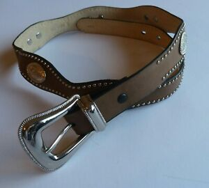 Wrangler Womens Brown Leather Studded Belt Silver Concho Western Cowgirl