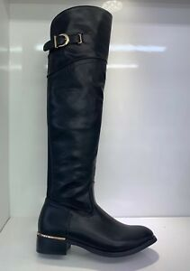 WOMENS-LADIES-FAUX-LEATHER-BLACK-OVER-KNEE-HIGH-LOW-HEEL-CASUAL-BOOTS-SIZE-3