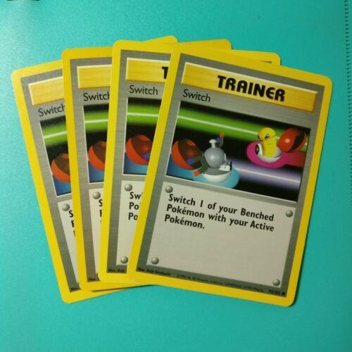 Unlimited SWITCH x 4 Pokemon Card Playset LP//MP 95//102 Base Set