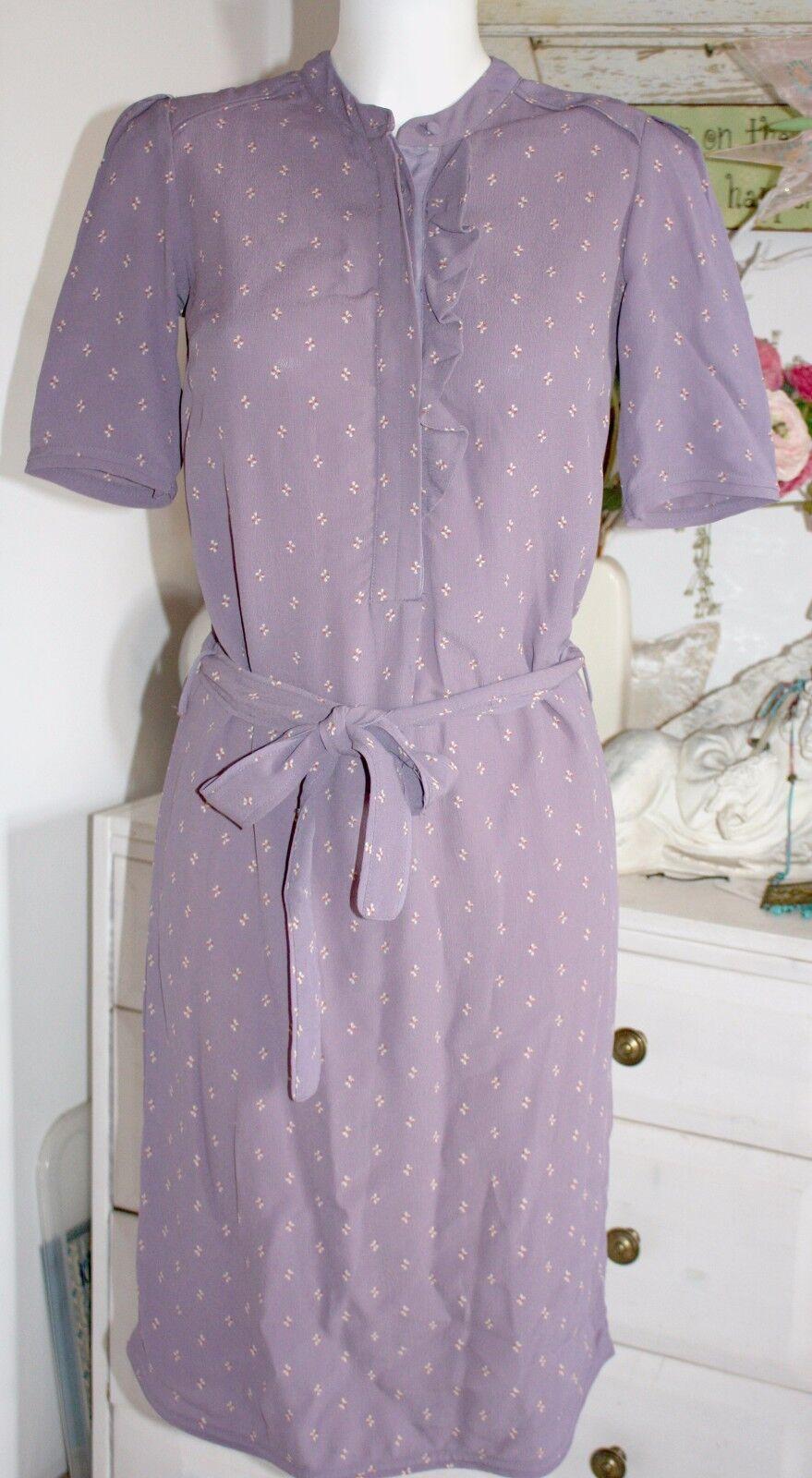 Noa Noa  Kleid  Dress  Kurzarm Fluid Printed  lila   Größe 32  Neu