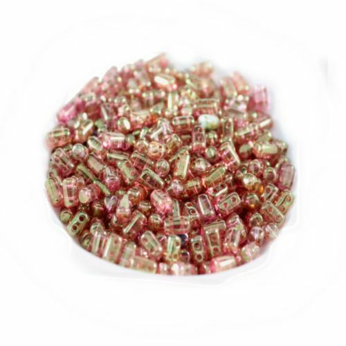 Czech Rulla Glass Beads~Crystal Red Apollo Gold~Two Hole Seed Beads