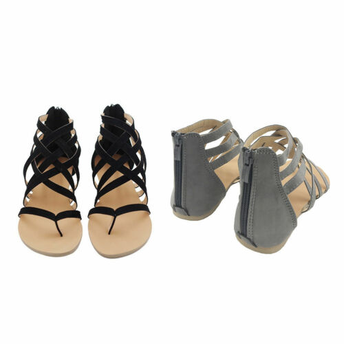 Women/'s Strappy Gladiator Low Flat Heel Summer Flip Flops Beach Sandals Shoes US