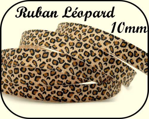 1M RUBAN GROS GRAIN BEIGE MOTIF LÉOPARD SCRAPBOOKING SCRAP CARTE COUTURE 10mm