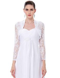 Women-039-Long-Sleeve-Lace-Wedding-Jacket-Bolero-Bridal-Dress-Shrug-Coat-Cardigan