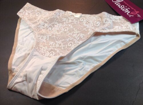 Women Panties,Thongs Size Small//5 Beige Fishnet Floral W//decoration