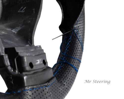 Pour VW Lupo 98-05 cuir noir véritable perforé volant couvercle bleu stitch