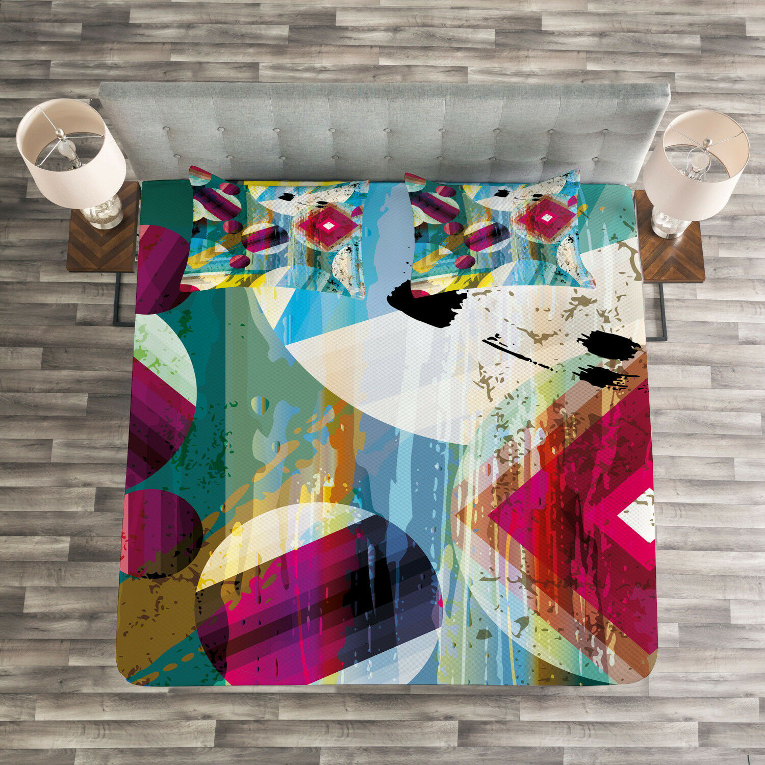 Abstract Art Quilted Bedspread & Pillow Shams Set, Surreal Pattern Print