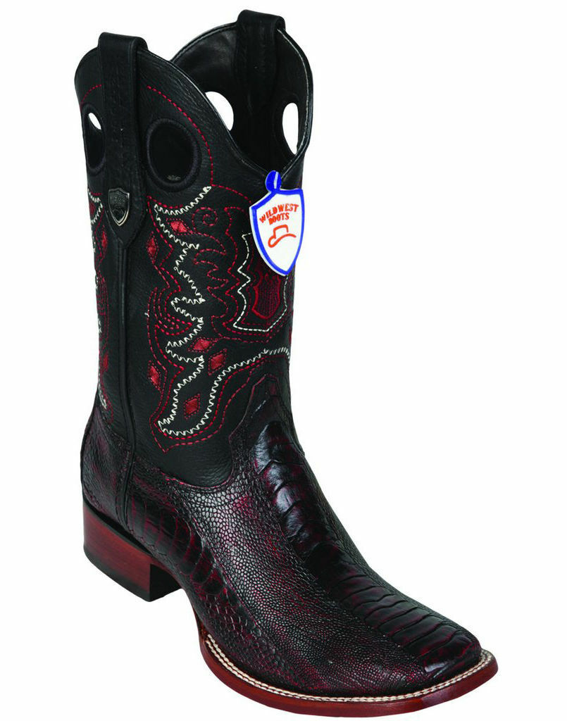 WILD WEST CHERRY GENUINE OSTRICH LEG COWBOY BOOT RANCH-WIDE SQUARE-TOE (D)