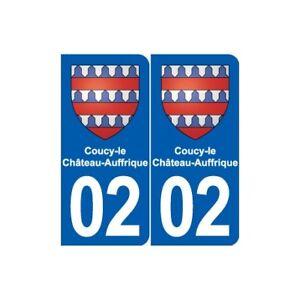 02 Coucy-le-château-auffrique Blason Ville Autocollant Plaque Sticker