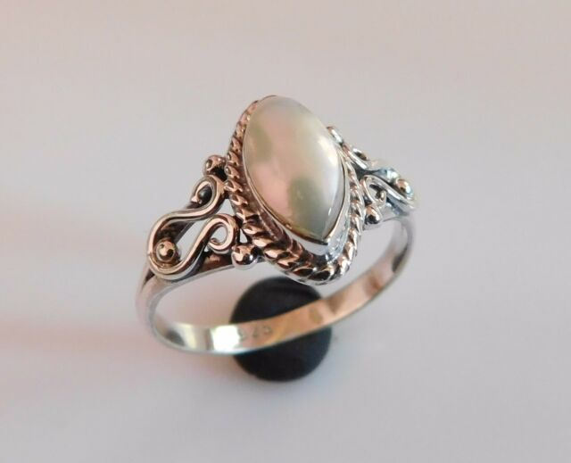2.50Gm Gemstone 925 Solid Sterling Silver Ring Size 7.3 Natural Pearl Ring i2419