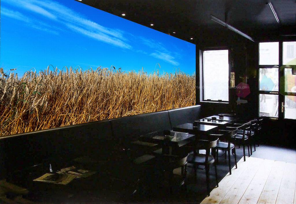 3D Champ Blé Mûr 26 Photo Papier Peint en Autocollant Murale Plafond Chambre Art