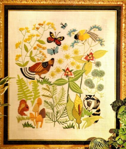 "Vintage Erica Wilson ""Ecology"" Birds Insects Botanical Crewel Embroidery Kit"