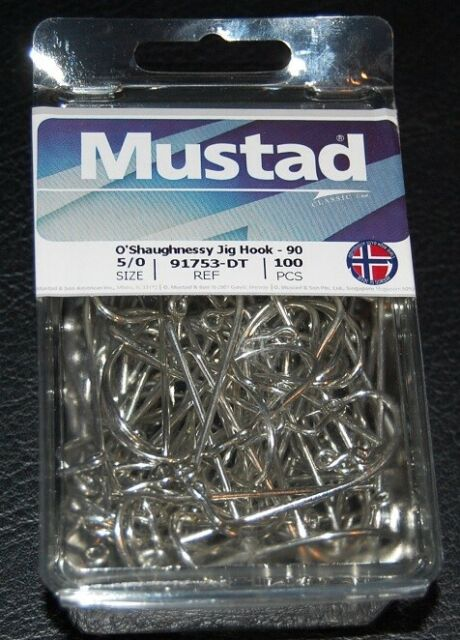 100 Mustad 91753D-80 Size 8//0 Saltwater O/'Shaughness 90 Degree Jig Hooks