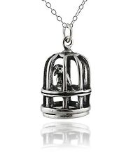 Birdcage Necklace - 925 Sterling Silver 3D Bird Cage Charm Parrot Pet Birds NEW
