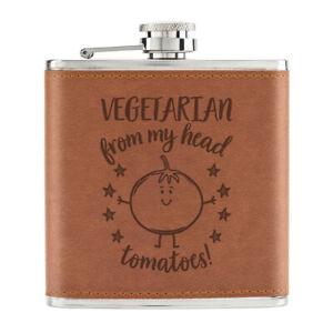 Vegetarien-De-Mon-Tete-Tomates-170ml-Cuir-PU-Hip-Flasque-Fauve-Best-Drole