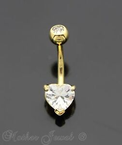 14k Yellow Gold Triple Plated Double End Simulated Diamonds Belly Navel Ring Fashion Jewelry Jewelry & Watches