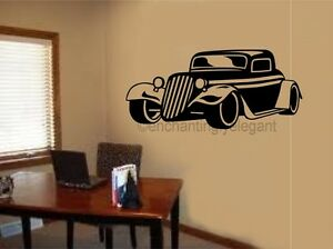 Antique Vintage Car Vinyl Decal Wall Sticker Office Shop Teen Boy ...