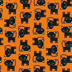 Fabric-Cats-Black-Halloween-Urban-Zoologie-on-Black-Cotton-by-the-1-4-yard-BIN