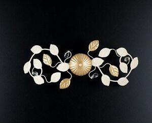 Plafoniere Con Ferro Battuto : Gardenia plafoniera in ferro battuto foglia colore avorio oro