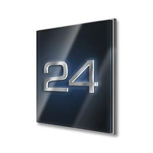 Metzler Hochglanz LED indirekt beleuchtete Edelstahl Design Hausnummer Anthrazit