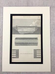 1880 Antico Architettonico Stampa Vittoriano Iron Ponte Costruzione