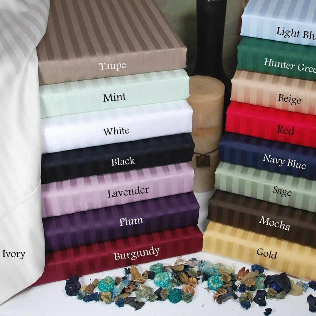 1200 Thread Count Egyptian Cotton Cal King Size All Striped color 6 pc Sheet Set
