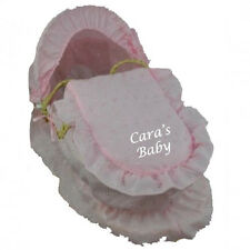 Personalised Embroidered Dolls Moses Basket Pink Broderie Anglaise (Toy)