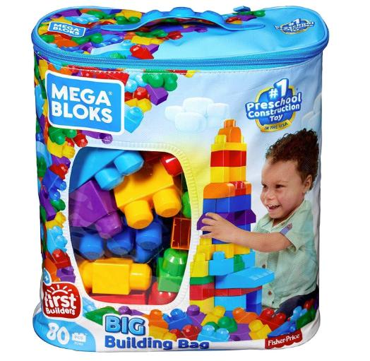 Building First Classic Big Bag 80 Piece Set Mega Builders Blocks Blue Set
