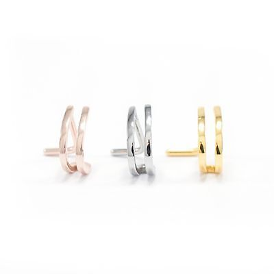 Nose Screw Piercing Double Faux Hoop L Shape Nose Ring Nose