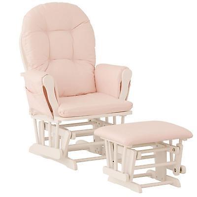 on sale 0d7c5 13c87 Nursery Glider Chair Baby Rocker Furniture Ottoman Set Pink White Wood  Infant 56927077595 | eBay