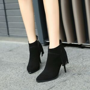 Women-Stiletto-High-Heel-Faux-Suede-Tassel-Round-Toe-Zip-Ankle-Boots-Solid-Shoes
