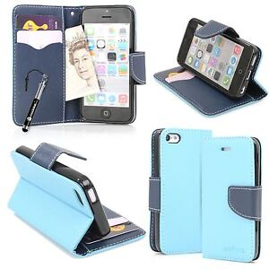 size 40 04c02 4c819 Details about Blue Italian Design PU Leather Wallet Stand Case For Apple  iPhone 5C