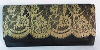 Clutch With Ivory Lace And Snap Closure Evening Satin