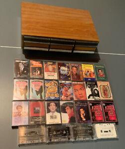 vintage-25-cassette-tapes-Lot-Storage-Deck-Wood-John-Williams-Music-Pop-Folk