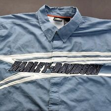 Mens 3XL Harley Davidson Racing Garage Patch Embroidered Button Down Shirt