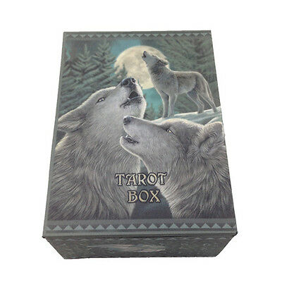 Wolf Song Tarot Box MDF Wiccan Pagan Metaphysical Home Decor 11015