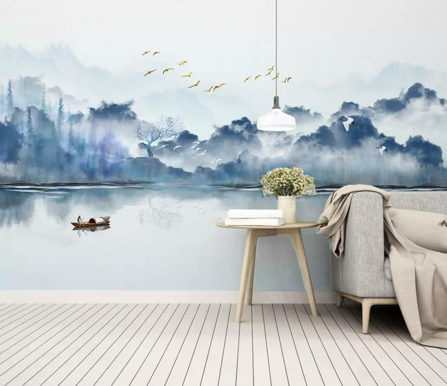 3D Mountain River 78 Wall Paper Exclusive MXY Wallpaper Mural Decal Indoor Wall
