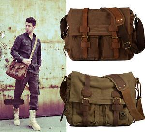 Vintage-Canvas-Leather-Messenger-Bag-Satchel-Cross-body-Military-Shoulder-Bag