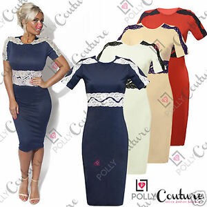 Womens-Smart-Evening-Party-Cocktail-Bodycon-Pencil-Ladies-Midi-White-Navy-Dress