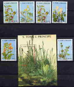 ST-THOMAS-1988-MEDICINAL-PLANTS-STAMPS-COMPLETE-SET-AND-SOUVENIR-SHEET