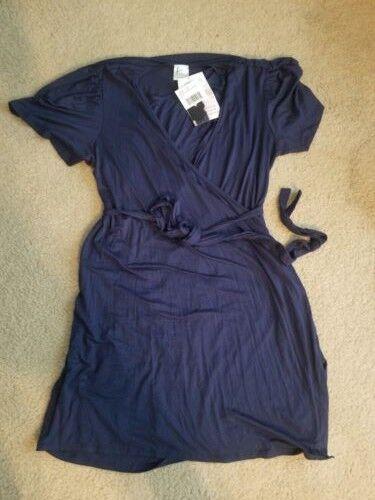 Udderly Hot Mama Womens Size 1X Whitney Wrap Dress Nursing Pumping Navy