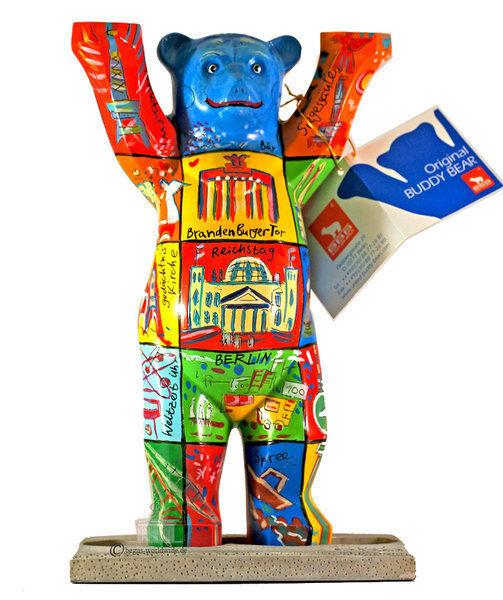 Buddy Bear Berlín squares nuevo en el embalaje original grande 22cm oso + placa de vidrio Berliner souvenirs