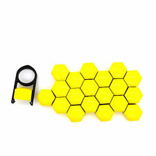 17mm Yellow Alloy Car Wheel Nuts Bolts Covers Caps For Any Car - Set of 20 pcs