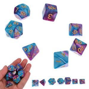 7Pcs-D4-D20-poliedricas-dice-Set-para-DND-trpg-Magic-el-encuentro-Fiesta-Juego-Juguete-Regalo-Azul