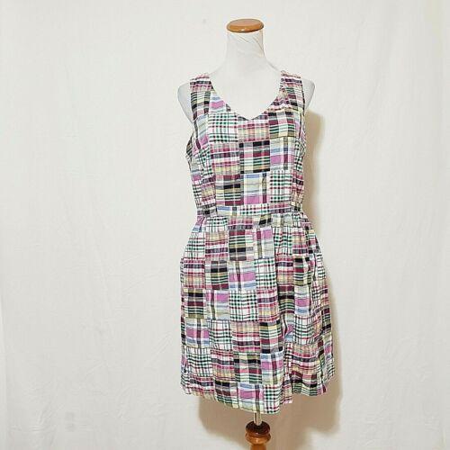 LL Bean 10 Petite Madras Plaid Shift Dress Jumper