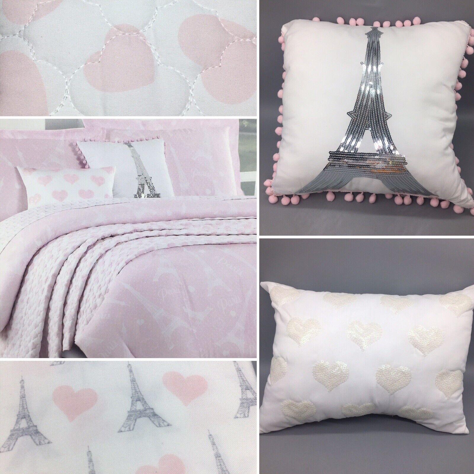 10pc Paris Full Queen Bedding COMFORTER SHEET PilFaible Set Eiffel Tower rose Heart