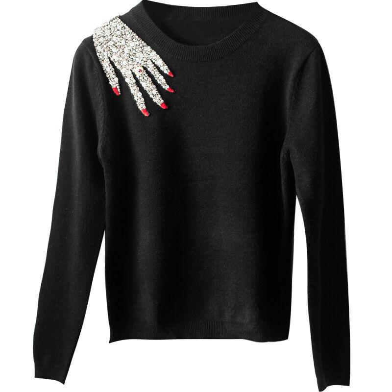 Women Designer Inspired Runway hand Embroidered Sequence  Knitwear Jumper