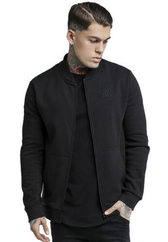 Siksilk Veste Hommes Sweater Bomber Jacket ss-14437 Noir Black