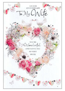 On Our Anniversary To My Wife, Card With Doves On Heart Of Flowers